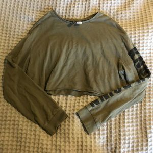 Cropped Olive Long Sleeve Top